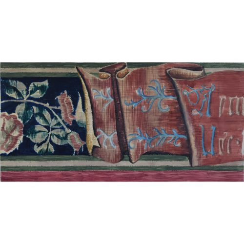 #D L Hadden Edwardian tapestry design watercolour