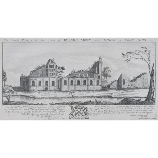 Samuel & Nathaniel Buck Byland Abbey Yorkshire engraving c. 1770