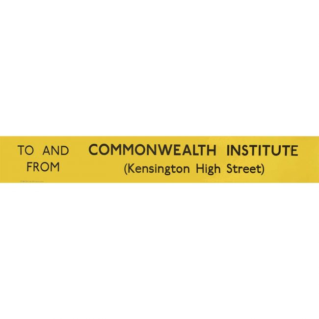 Commonwealth Institute Kensington High Street Routemaster Slipboard Poster c1970