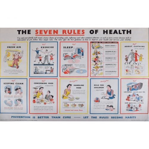 Seven rules of Health original vintage poster