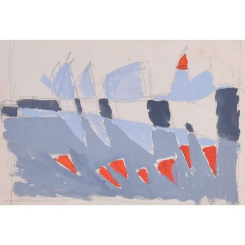 Clifford Ellis Sailing Boats in Blue and Red