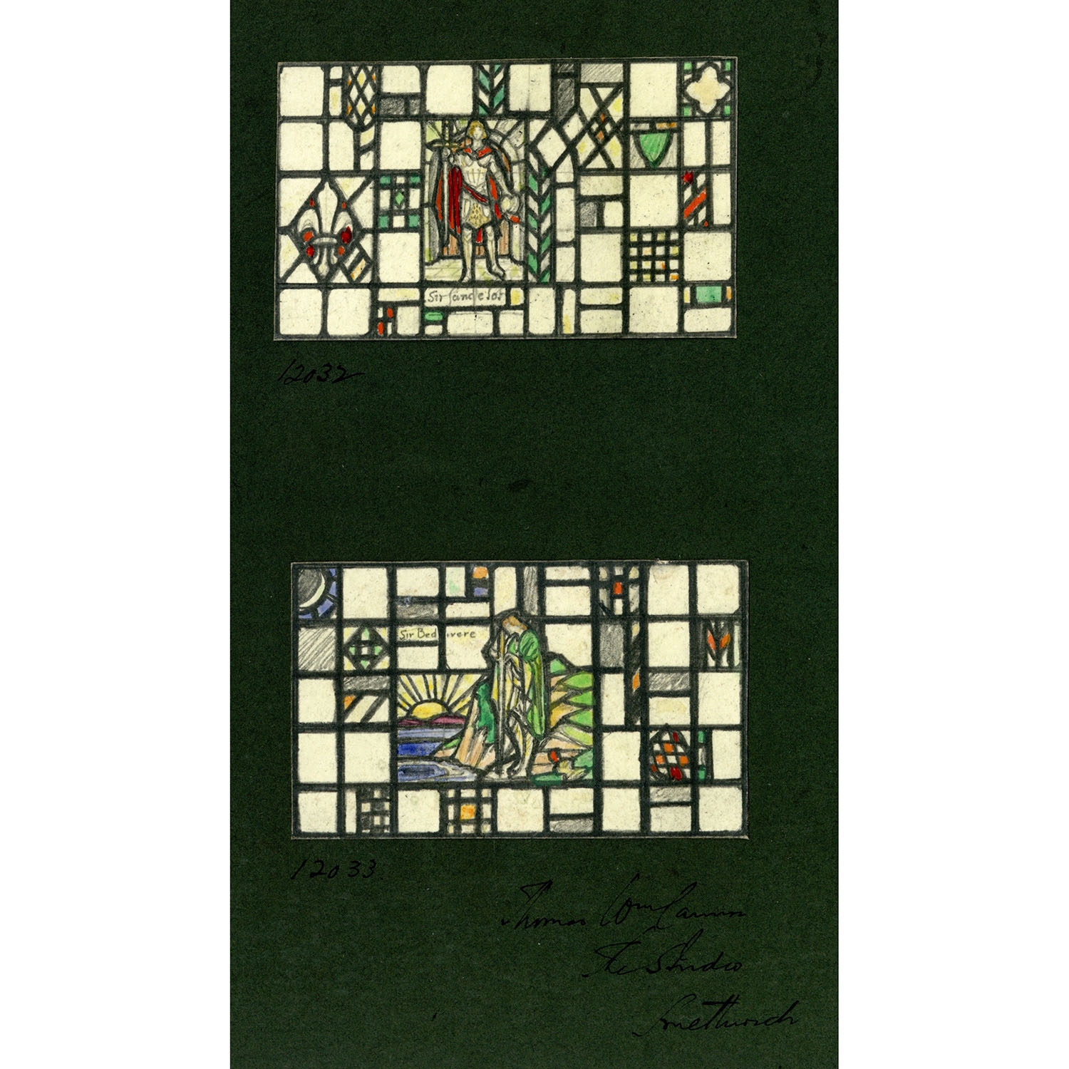 Florence Camm Sir Lancelot and Sir Bedivere Stained Glass Window Design
