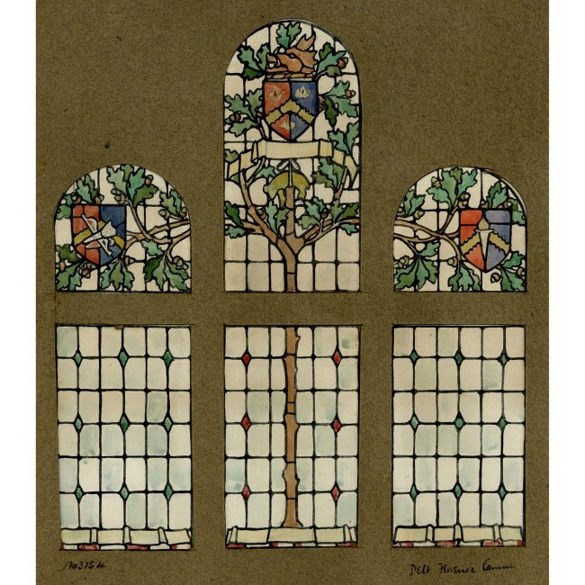 Florence Camm Stained Glass Window Design with Oak Leaves