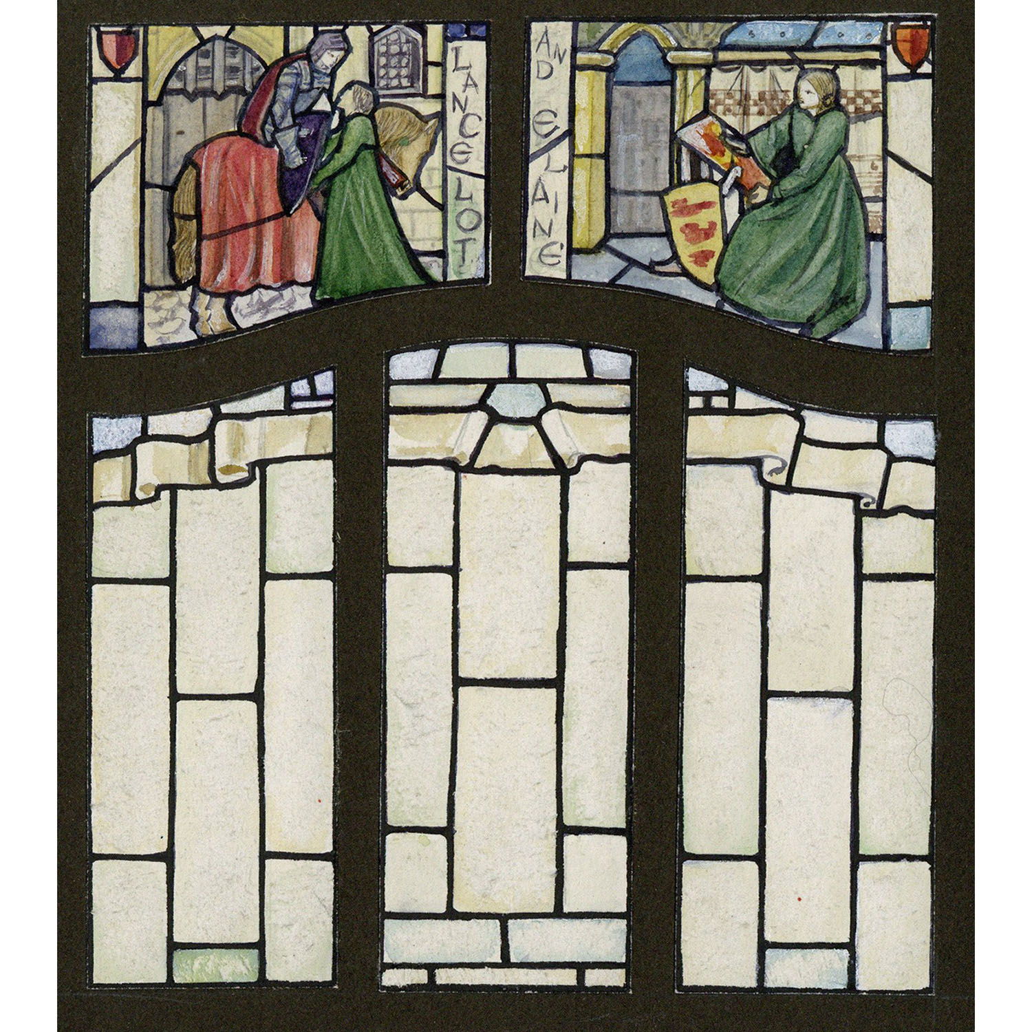 Florence Camm Lancelot and Elaine Stained Glass Window Design