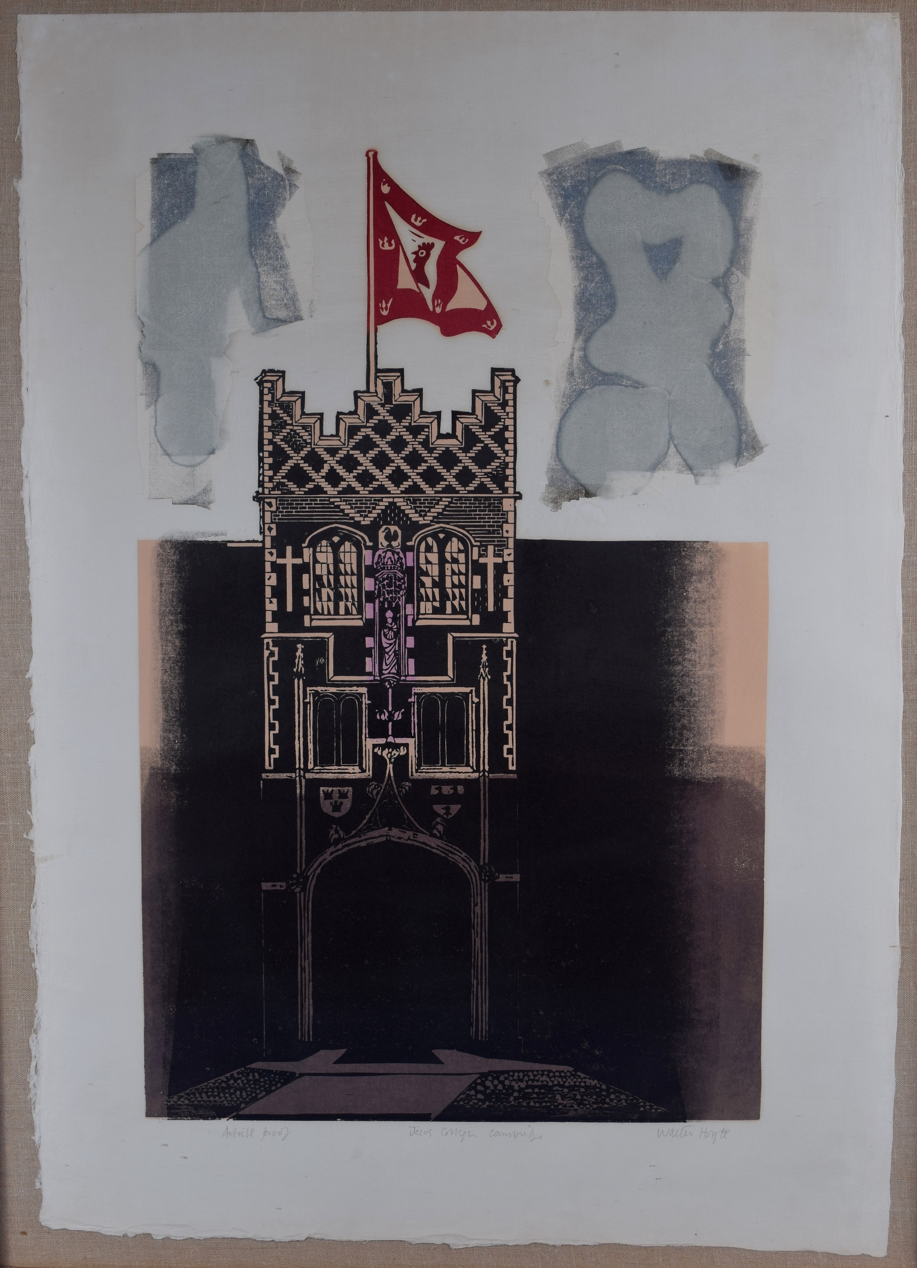 Walter Hoyle Jesus College Cambridge Linocut for sale