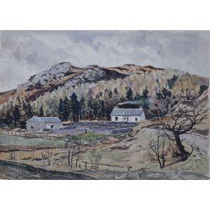 Claude Muncaster Scottish Farmhouse 1937 watercolour