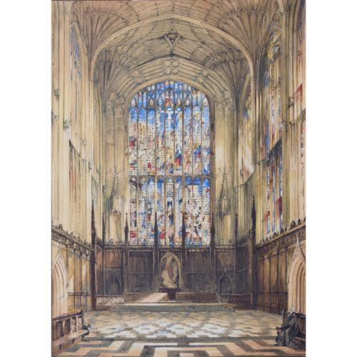 John Anderson Bell King's College Cambridge Chapel Interior c. 1840 large watercolour