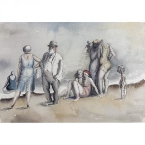 Harold Hope Read Conversation on the beach watercolour