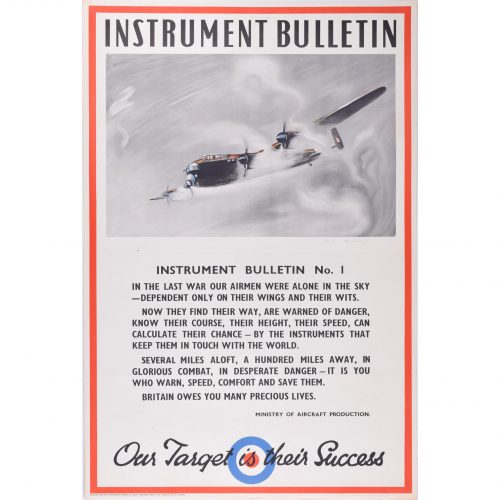 Owen Miller Lancaster Bomber Instrument Bulletin original poster