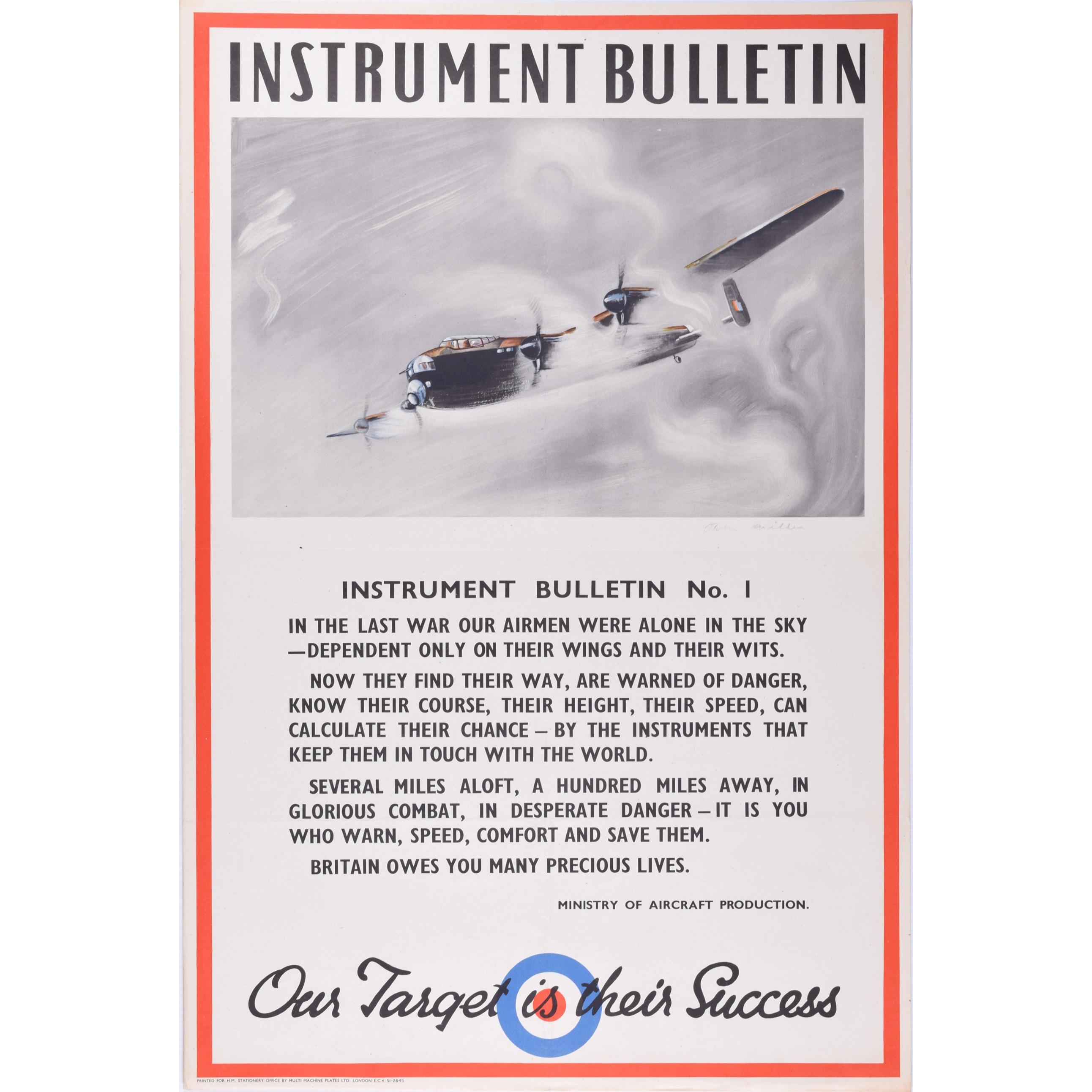 Lancaster Bomber WW2 RAF Aeroplane Owen Miller Original Poster