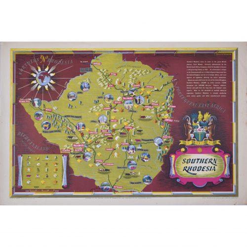 Denys Nicholls Southern Rhodesia original vintage poster map
