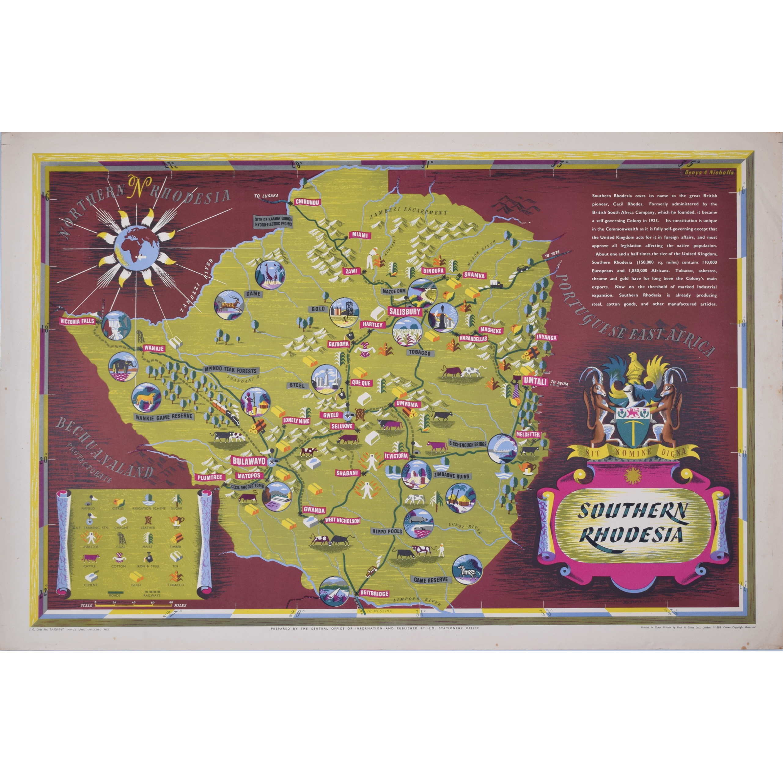 Denys Nicholls Southern Rhodesia original vintage poster map