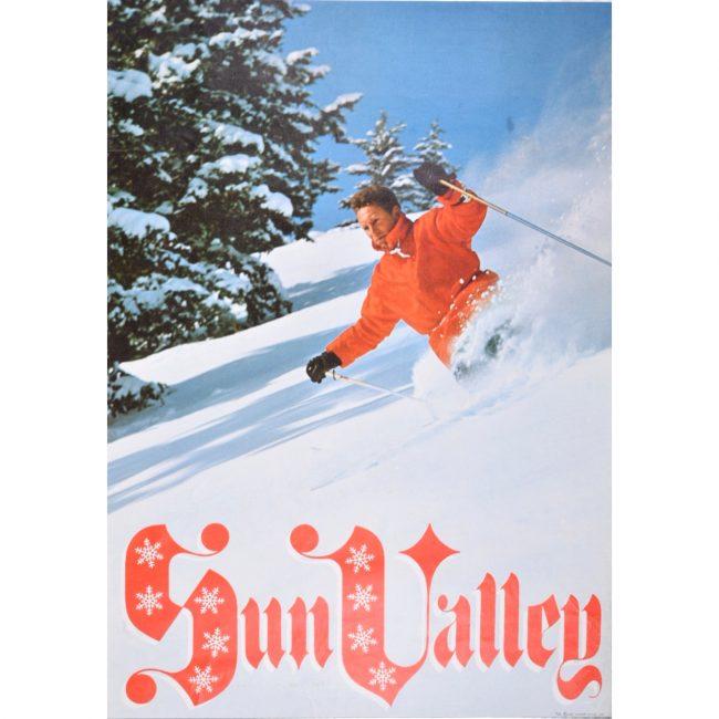 Sun Valley original alpine skiing poster c. 1960s Idaho United States of America