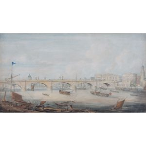 G. Yates (1790-1840) London Bridge from the East showing Fishmonger's Hall, St Magnus and St. Paul's Cathedral c.1831 Watercolour