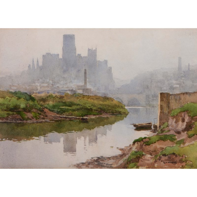 Ernest William Haslehust Durham Cathedral and the Wear watercolour