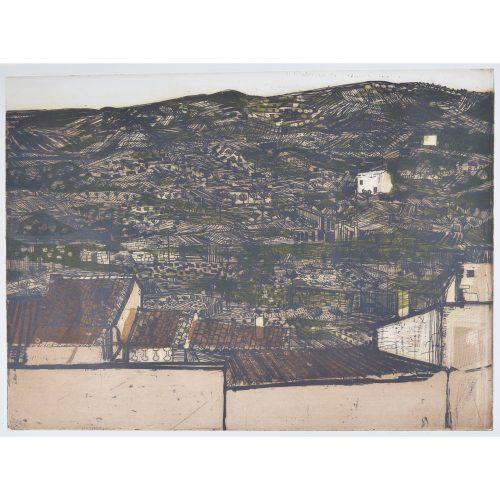 Richard Beer Spanish Hillside Etching and Aquatint