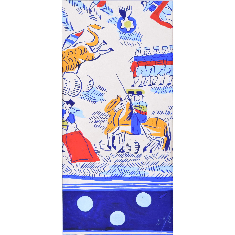Robert Bonfils Designs for scarf for Bianchini Ferrier Bull Fighting blue