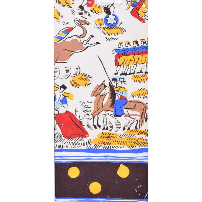 Robert Bonfils Designs for scarf for Bianchini Ferrier Bull Fighting brown