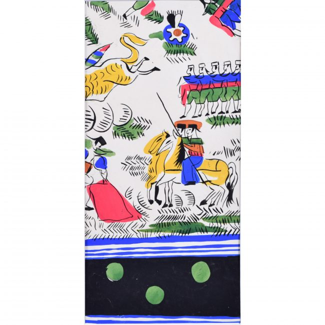 Robert Bonfils Designs for scarf for Bianchini Ferrier Bull Fighting green