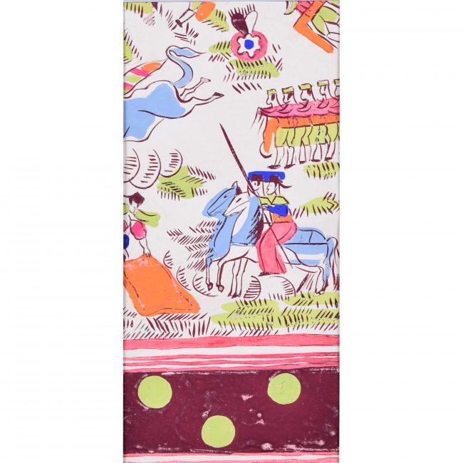 Robert Bonfils Designs for scarf for Bianchini Ferrier Bull Fighting pink