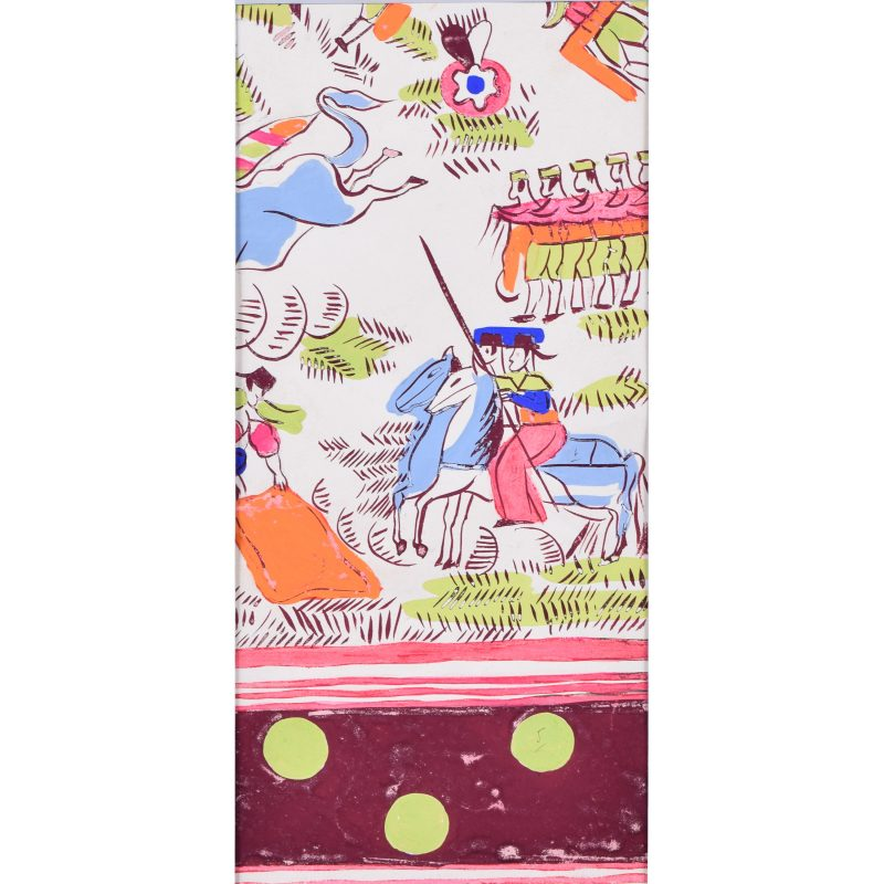 Robert Bonfils Designs for scarf for Bianchini Ferrier Bull Fighting pink