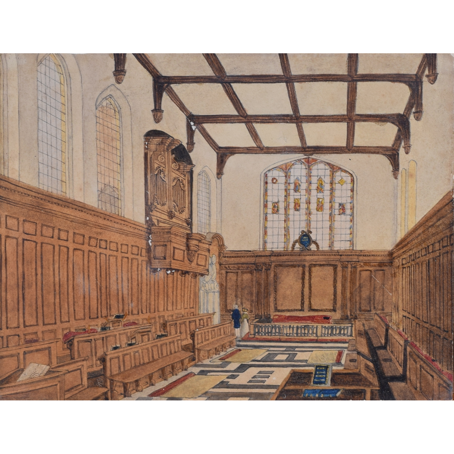 Christ's College Cambridge Chapel, 1842, watercolour by RAH Little for sale