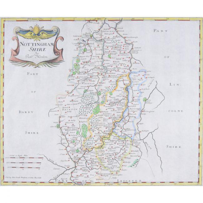 Robert Morden Nottingham Shire map of Nottinghamshire 18th century