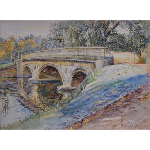 George Lilly Anderson Trinity College Cambridge Bridge on the Backs watercolour for sale