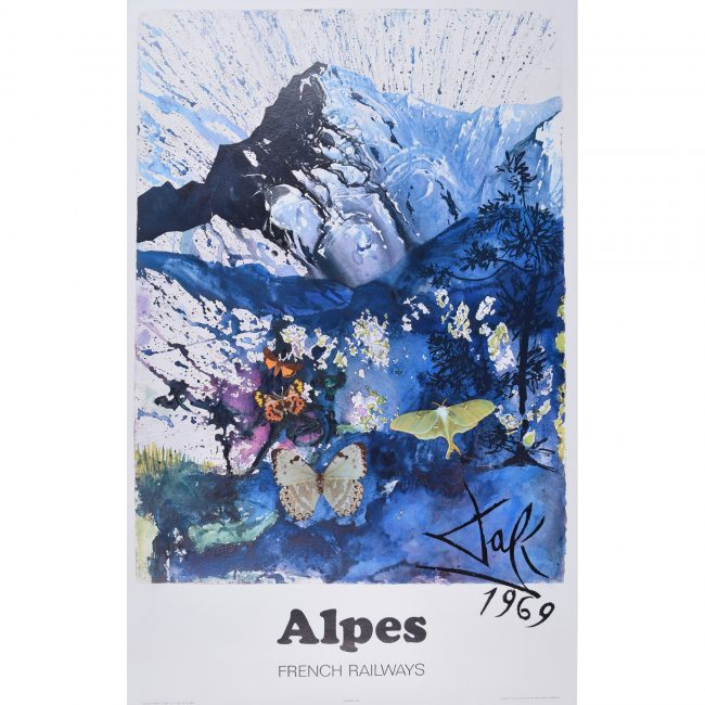 Salvador Dali Alpes Alps poster for SNCF French Railways
