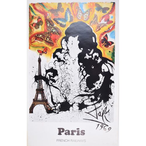 Salvador Dali Paris original French travel poster SNCF French Railways