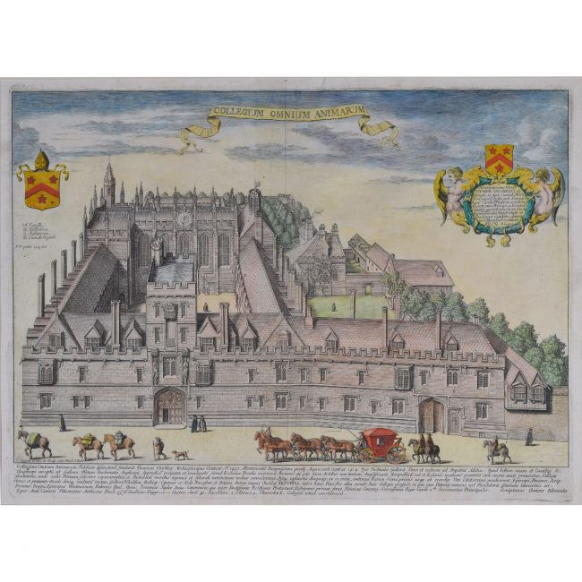 Loggan All Souls College Oxford coloured engraving