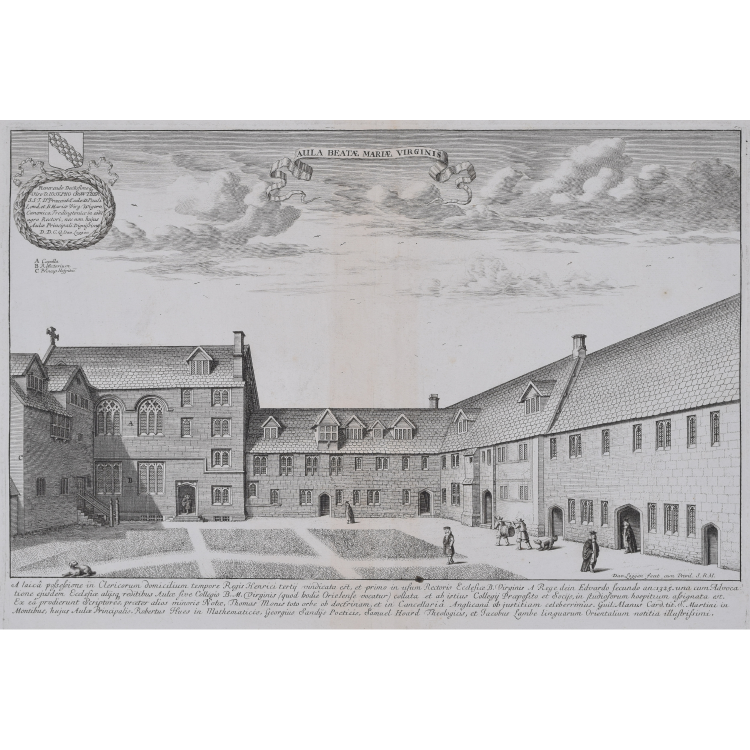 David Loggan Oriel College Oxford Hall of the Blessed Virgin Mary Aula Beatae Maria Virginis for sale