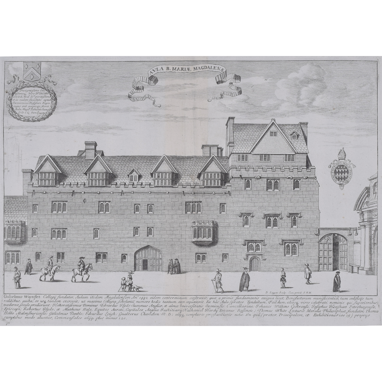 David Loggan Magdalen Hall Oxford engraving Aula Mariae Magdalene for sale