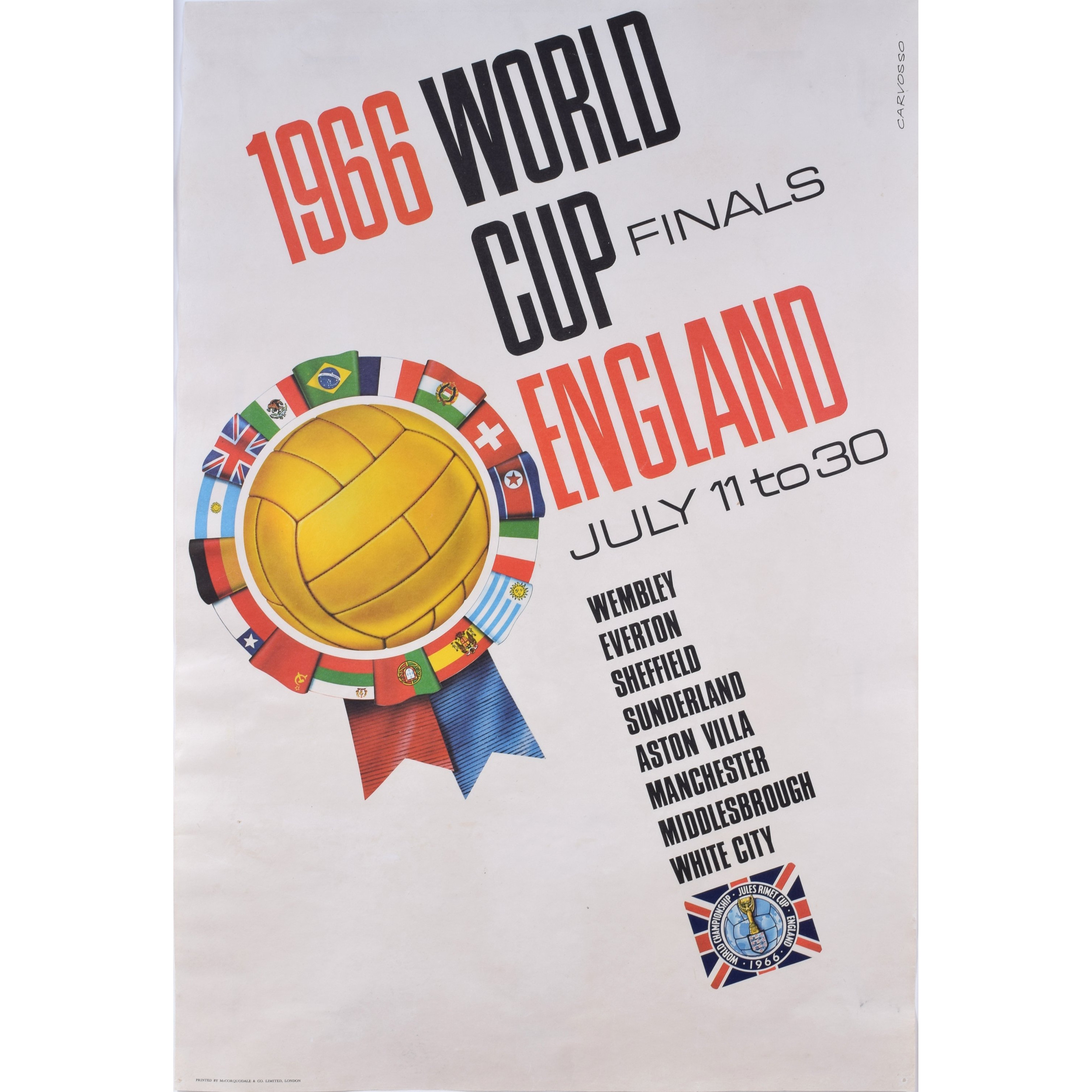 Carvosso 1966 Football World Cup England Original Poster