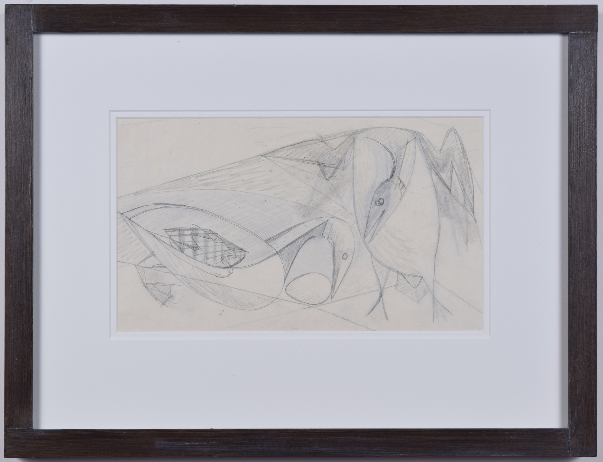 Clifford Ellis Ducks pencil sketch in butt-jointed Nicholson frame
