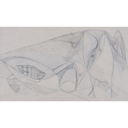 Clifford Ellis Ducks pencil sketch in butt-jointed Nicholson frame