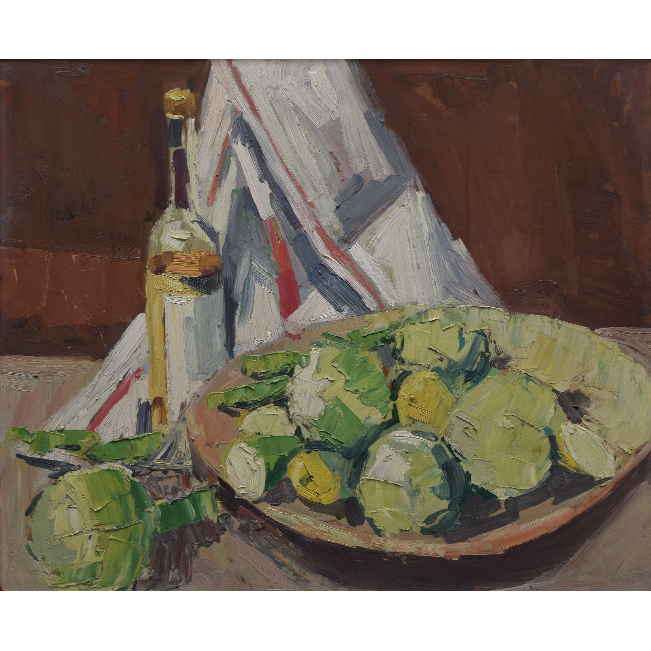 Peter Collins ARCA Oil Painting Still Life Apples and Bottle Modern British Art for sale