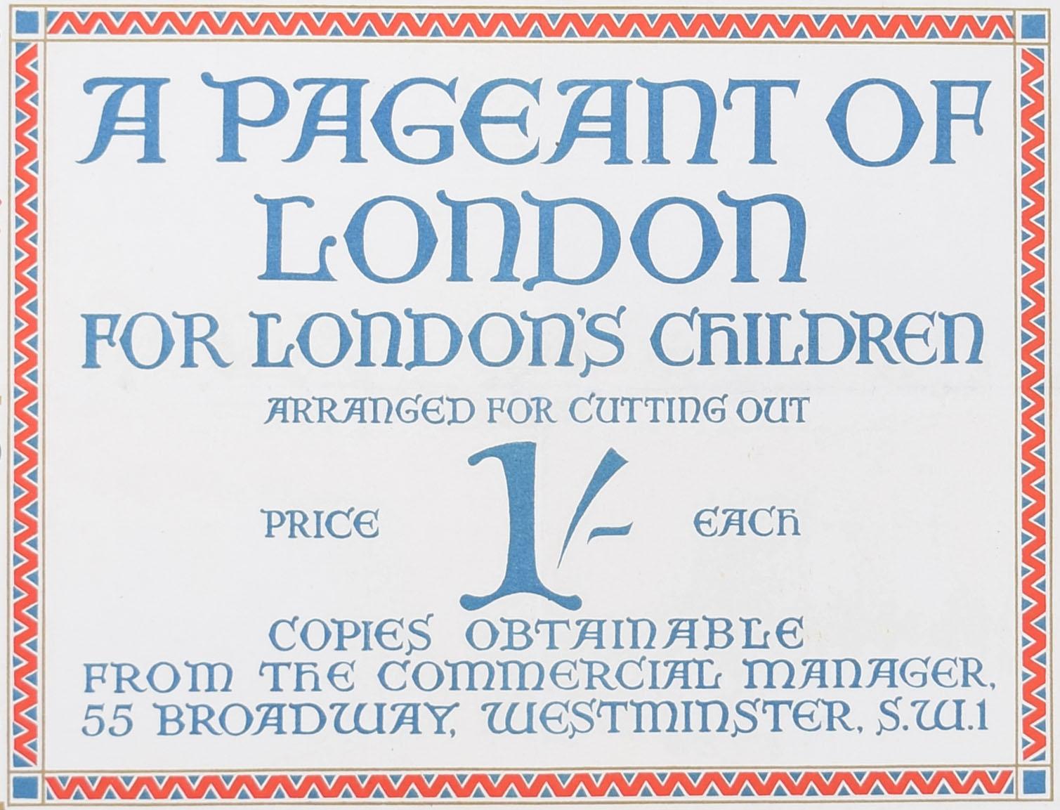 Elijah Albert Cox Pageant of London 1926 original London Transport Underground poster