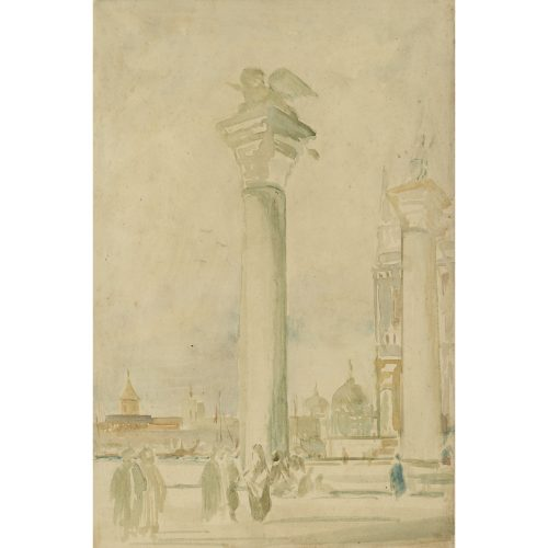 Pre-Raphaelite School Drawing of Column of St Mark (Lion), Piazza San Marco, Venice, Italy for sale