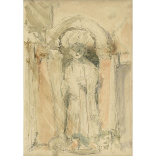 Pre-Raphaelite School drawing Sculpture of a Figure in a Niche, Venice, Italy