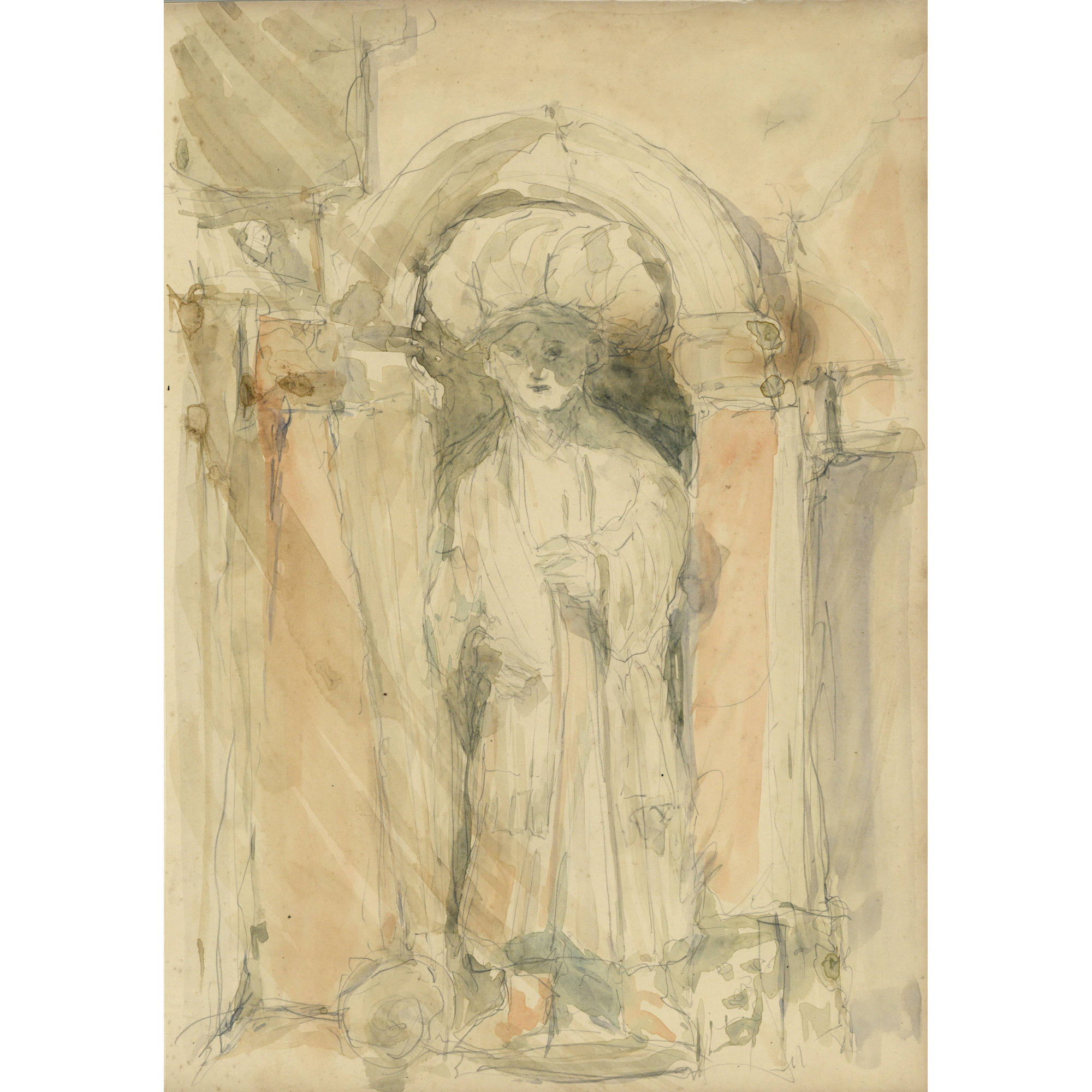 Pre-Raphaelite School drawing Sculpture of a Figure in a Niche, Venice, Italy