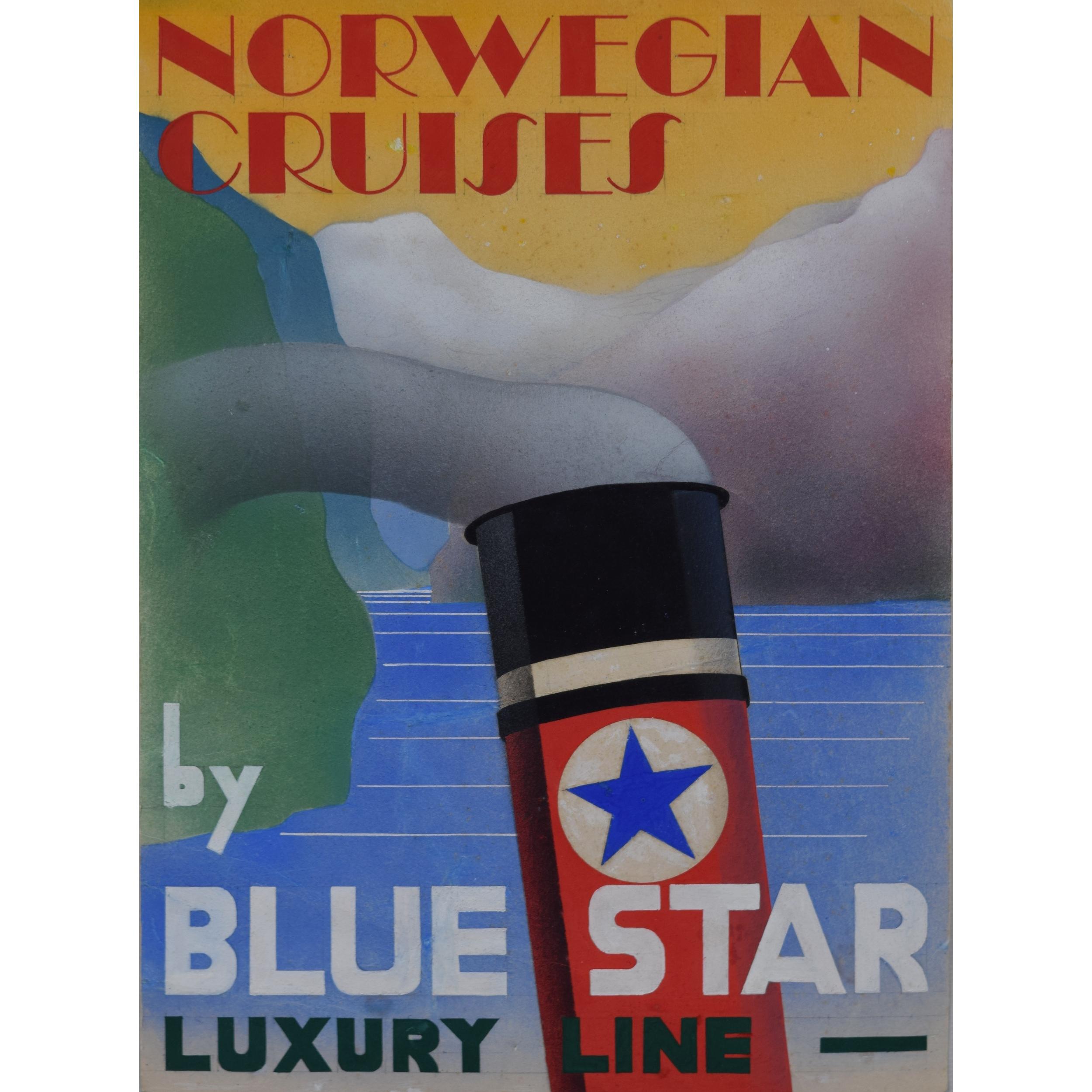 1930s Design Advertising Art Deco Poster Design Norwegian Cruises Blue Star Line for sale