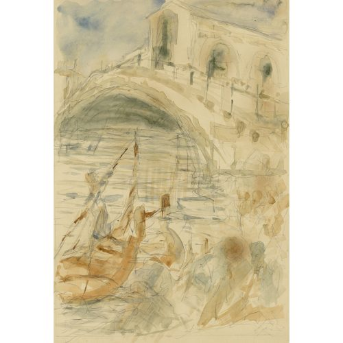Pre-Raphaelite Drawing of a Gondola with Rialto Bridge, Venice, Italy