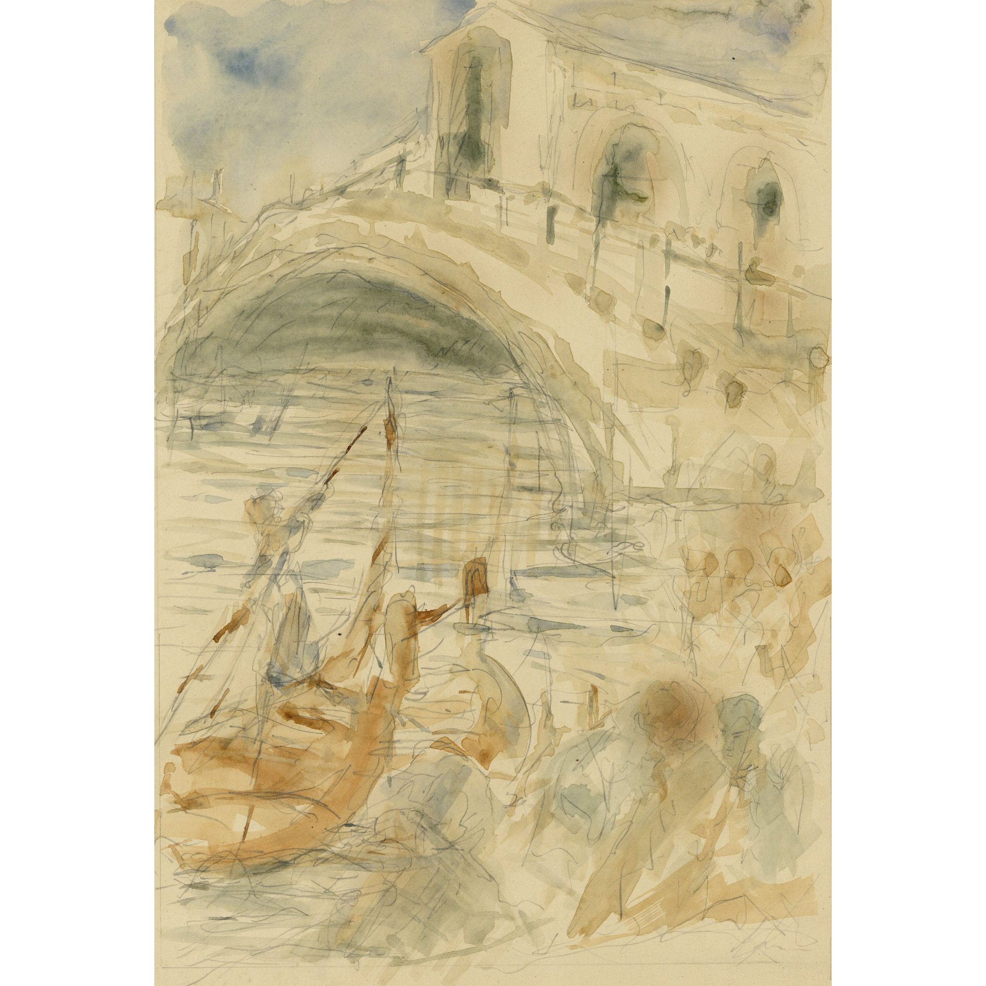 Pre-Raphaelite Drawing of a Gondola with Rialto Bridge, Venice, Italy