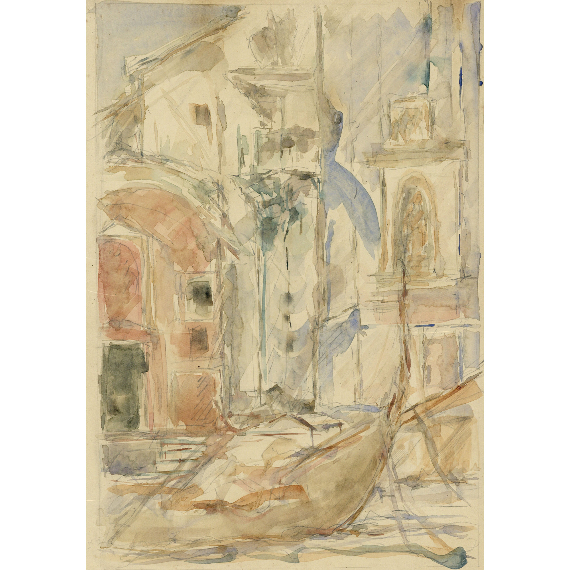 Pre-Raphaelite Drawing of a Gondola, Venice, Italy