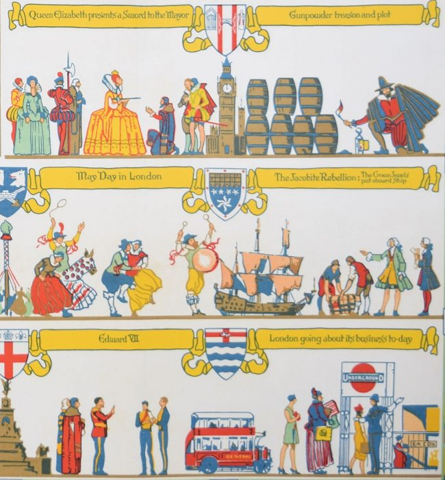 Elijah Albert Cox Pageant of London 1926 original London Transport Underground poster