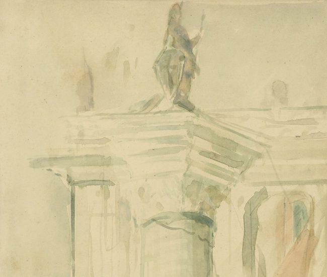 Pre-Raphaelite Drawing of Column of Saint Theodore, Piazza San Marco, Venice, Italy