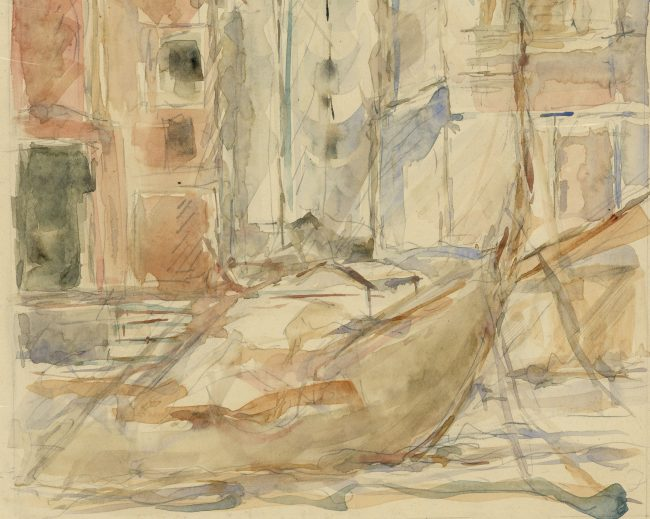 Pre-Raphaelite Drawing of a Gondola with Venetian Cityscape, Venice, Italy