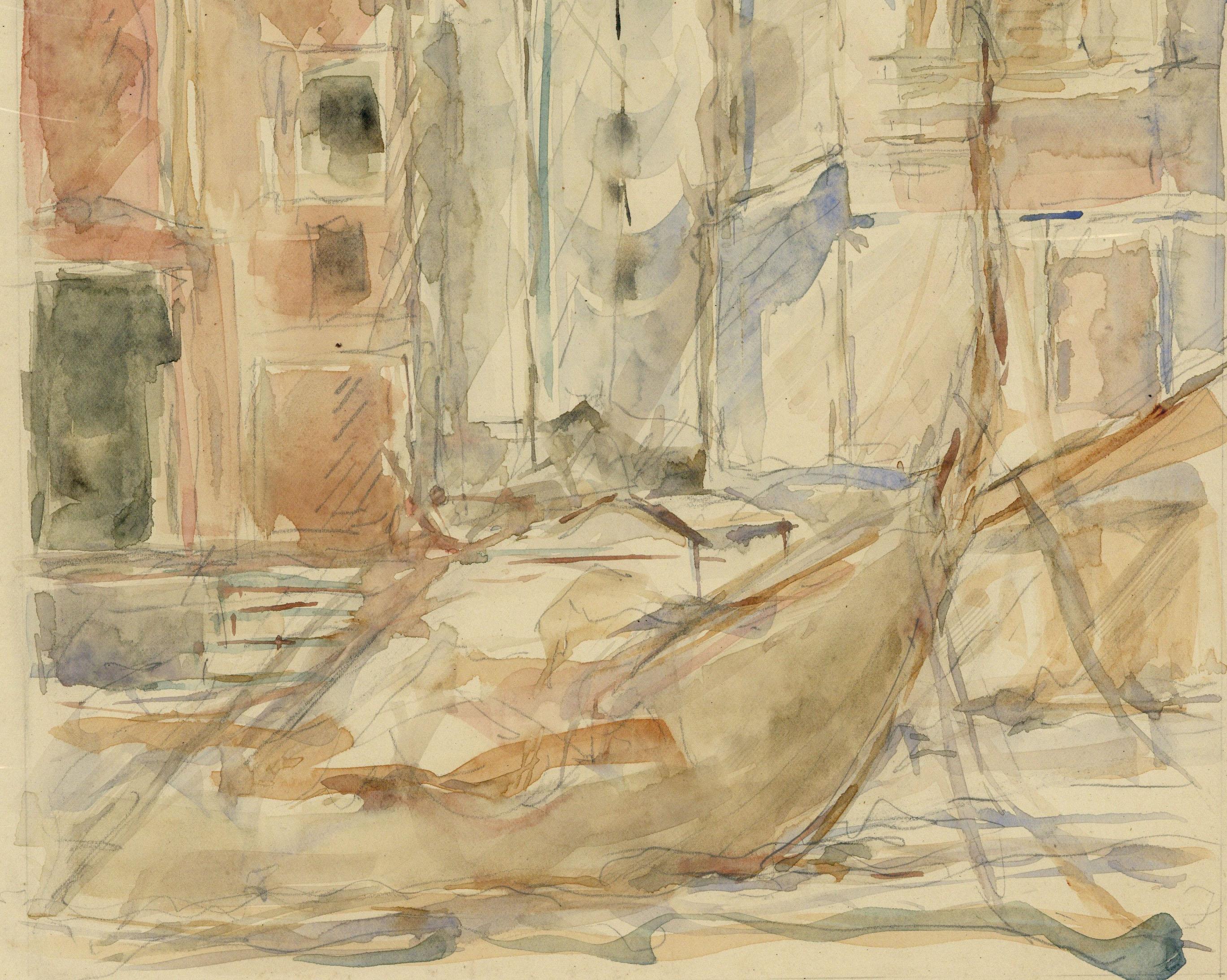 Pre-Raphaelite Drawing of a Gondola with Venetian Cityscape, Venice, Italy