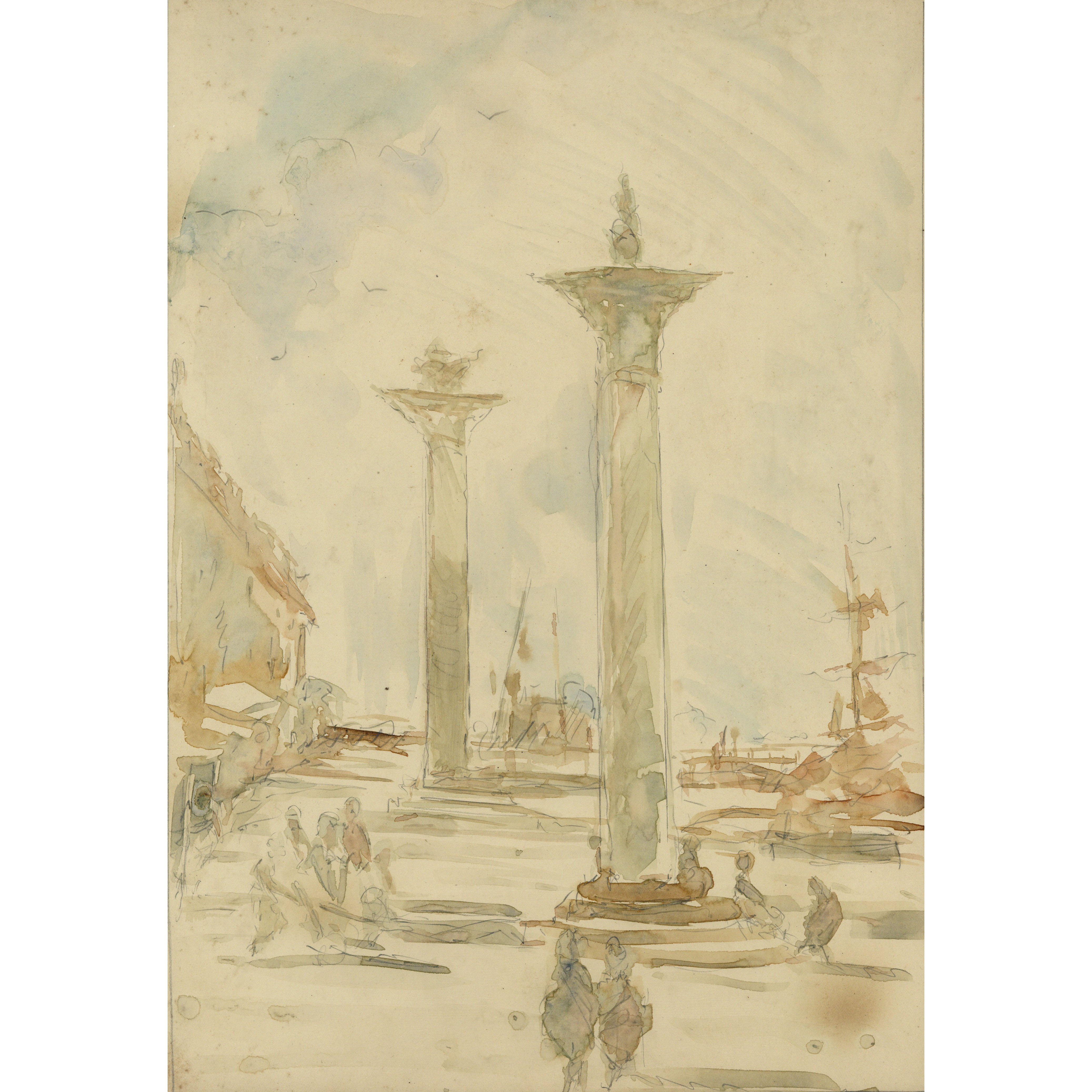 Pre-Raphaelite Drawing of Columns of St. Theodore & St. Mark, Piazza San Marco, Venice, Italy